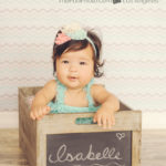 name box, baby teal and peach, isabelle name box, baby photos