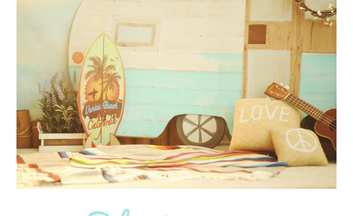 Best-Portrait-Studio-Los-Angeles-Indoor-Summer-Themed-Bohemian-Beach-Vintage-Camper-Set-Props-Styling-Surfboard-Peace-Love-Music-Sun-Pod-Glow-The-Pod-Photography