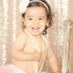 Best-First-Birthday-Cake-Smash-Photographer-Los-Angeles-Portrait-Studio-Pink-Tutu-Pearls-Headband-Cute-Baby-Girl-One-Year