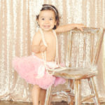 Best-First-Birthday-Cake-Smash-Photographer-Los-Angeles-Portrait-Studio-Pink-Tutu-Sparkle-Sequins-Pearls-Headband-Standing-One-Year