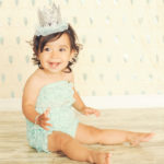 Best-First-Birthday-Cake-Smash-Photographer-Los-Angeles-Portrait-Studio-Sparkle-Sequins-Tutu-Crown-Romper-Teal
