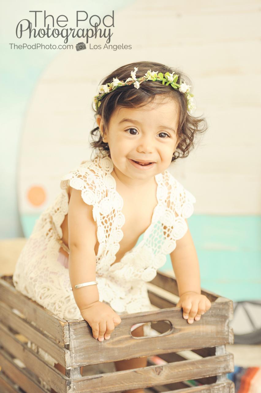 One Year Old Baby Girl Portriats Bohemian Flower Headband