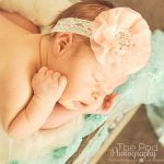 peach headband and mint fabric newborn baby