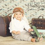 Best-Baby-Kids-Photographer-Marina-Del-Rey-Full-Service-Portrait-Studio-The-Traveler-Set-Aviator-Hat-Styled-Boy-Suitcase-Trunk-Airplane-Chevron-Modern-Travel