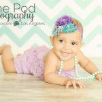 Best-Venice-Beach-Baby-Photographer-Romper-Pearls-Headband-Chevron-Cute-Seven-Month-Girl