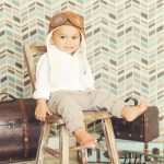 Full-Service-Portrait-Studio-Los-Angeles-The-Traveler-Set-Aviator-Hat-Styled-Boy-Suitcase-Trunk-Airplane-Chevron-Modern-Travel
