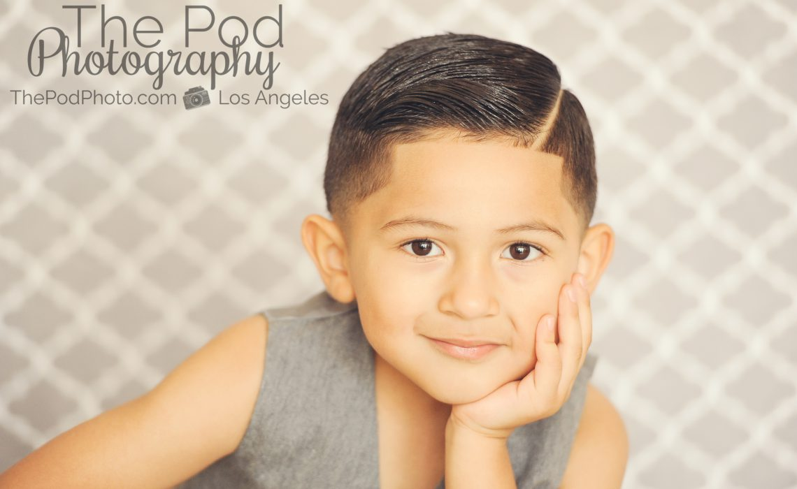 Best-Kids-Photographer-Santa-Monica-Handsome-Little-Model-Gray-Quatrefoil