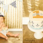 Pacific-Palisades-Best-First-Birthday-Cake-Smash-Photographer-Nautical-Anchor-Theme-Navy-Blue-Gold-Sailor-Hat-SusieCakes
