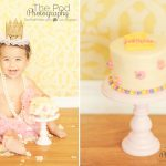 Korean-First-Birthday-Cake-Smash-Photography-Brentwood-Baby-Portraits-Cake-Smash-Pink-Yellow-Cherry-Blossom-Flowers-Crown-Tutu-Pearls-SusieCakes