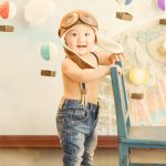 Traveler themed hot air balloon baby portrait
