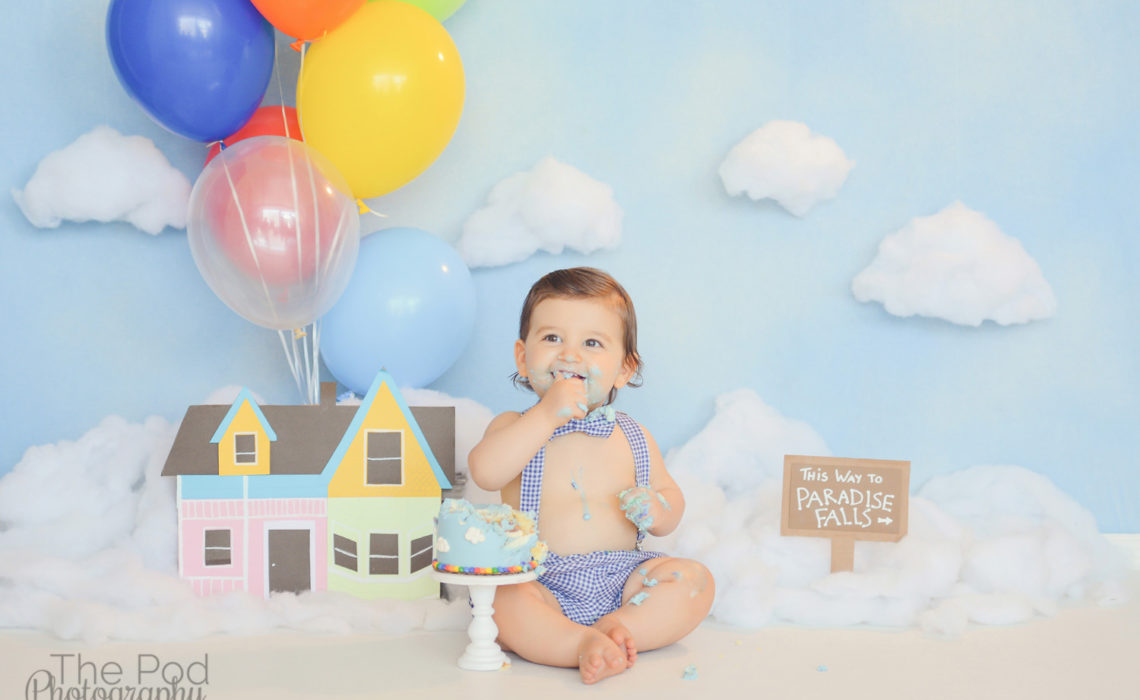 One-Year-Old-Cake-Smash-Photography-Los-Angeles-Disney-Pixar-Up-Theme