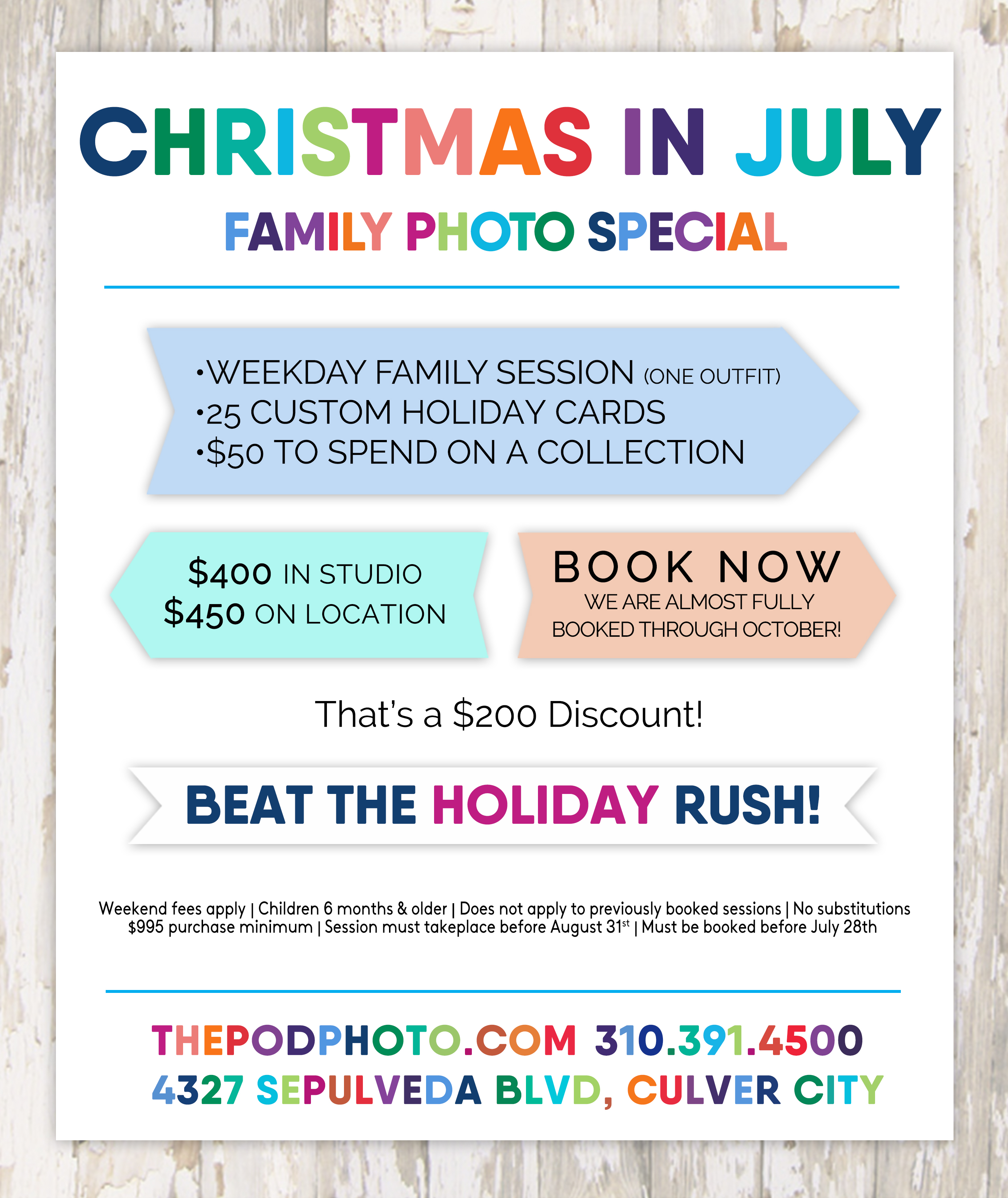 christmas in july family photo sessions los angeles holiday