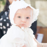 Baby Portrait in christening dress taken by Rancho Palos Verdes Baptism Photographer