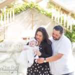 Family Photo at iconic Los Angeles glass church for baptism ceremony