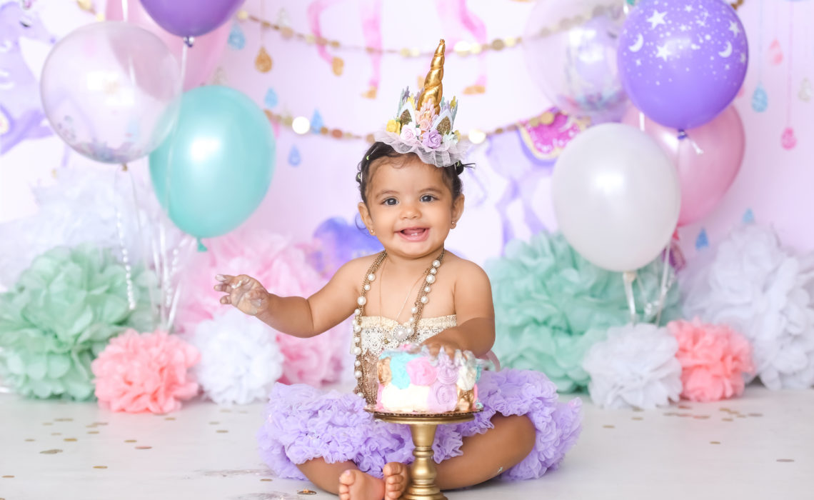 Terrific Unicorn First Birthday Cake Smash Los Angeles Based Photo Studio Personalised Birthday Cards Veneteletsinfo