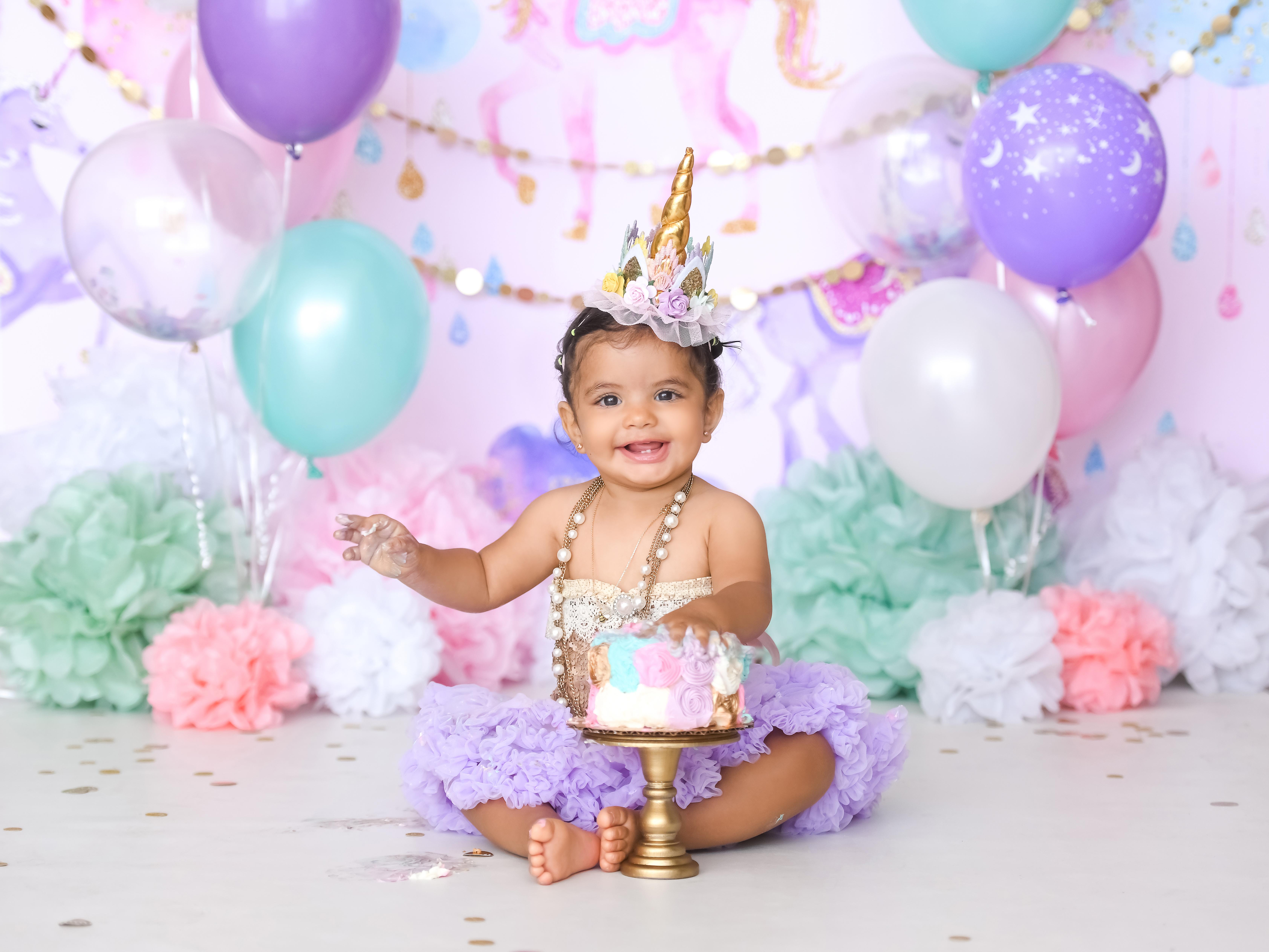 Astonishing Unicorn First Birthday Cake Smash Los Angeles Based Photo Studio Personalised Birthday Cards Xaembasilily Jamesorg